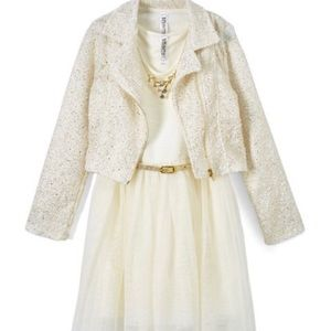 NWT Beautees Ivory & Gold Belted Dress Set size 12